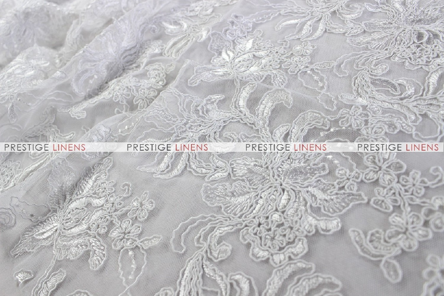 Giselle net embroidery fabric by the yard white