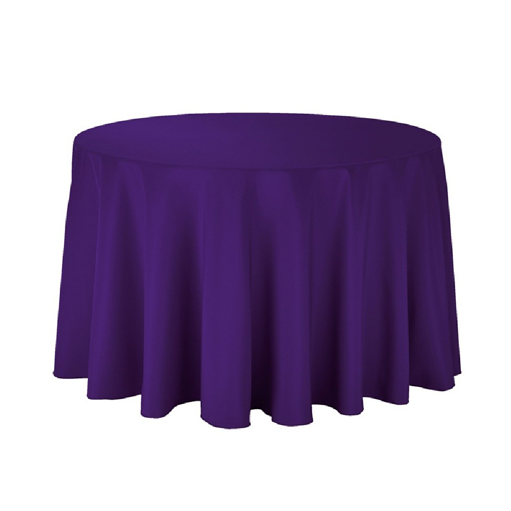 "Polyester Tablecloth - 108"" Round - Purple - Prestige Linens"
