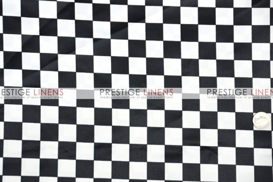 Race Check Lamour Table Linen - 1 Inch - White/Black