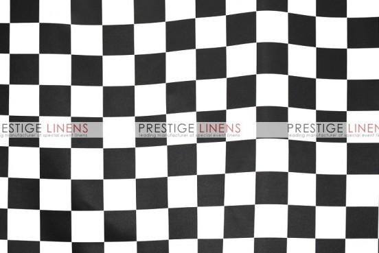 Race Check Lamour Table Linen - 3.5 Inch - White/Black
