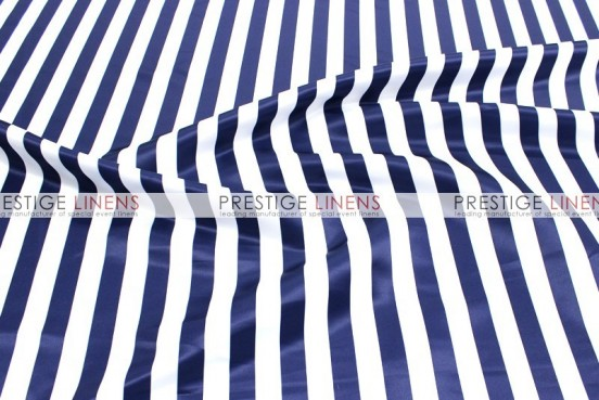 Striped Print Lamour Table Linen - 1 Inch - Navy