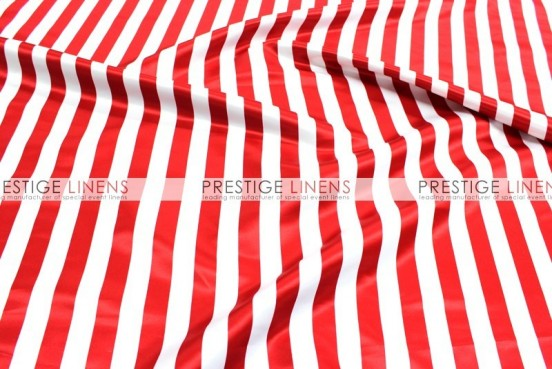 Striped Print Lamour Table Linen - 1 Inch - Red