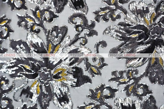 Classical Flower Chair Caps & Sleeves - Black/Silver