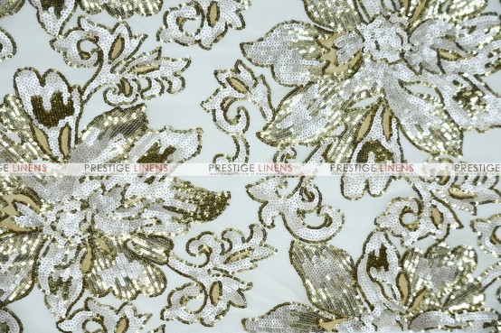 Classical Flower Chair Caps & Sleeves - Ivory/Gold