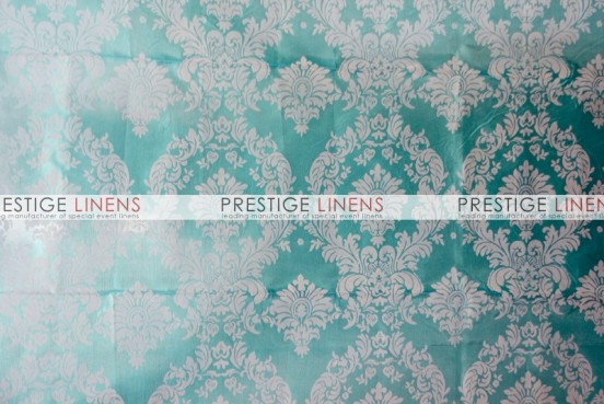 Flocking Damask Taffeta Aisle Runner - Aqua/White