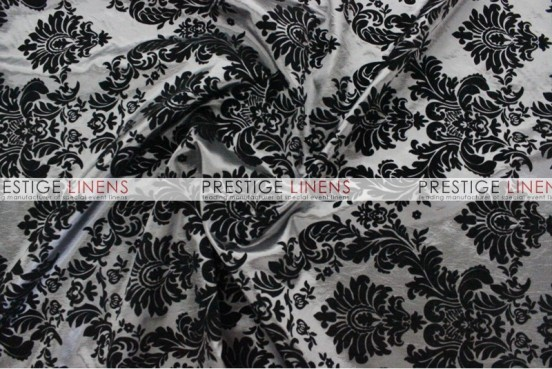 Flocking Damask Taffeta Aisle Runner - Charcoal/Black