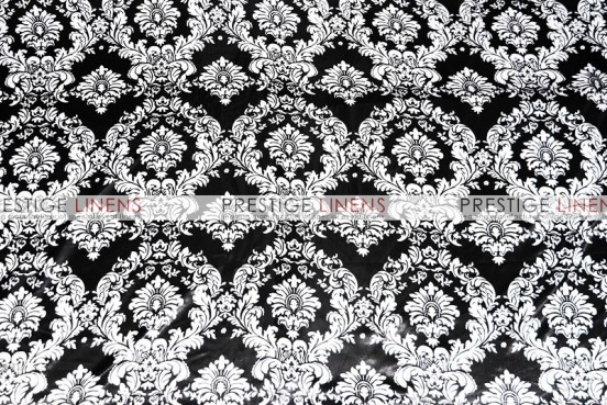 Damask Print Lamour Chair Caps & Sleeves - Black/White