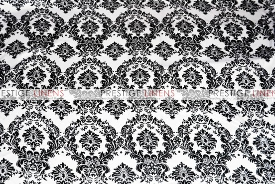 Damask Print Lamour Chair Caps & Sleeves - White/Black
