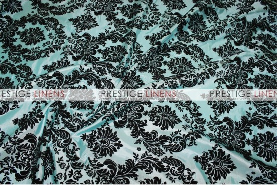Flocking Damask Taffeta Chair Caps & Sleeves - Aqua/Black