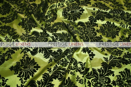 Flocking Damask Taffeta Chair Caps & Sleeves - Dk Lime/Black