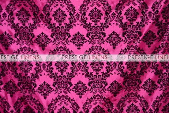 Flocking Damask Taffeta Chair Caps & Sleeves - Hot Pink/Black