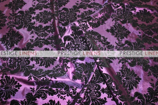Flocking Damask Taffeta Chair Caps & Sleeves - Plum/Black
