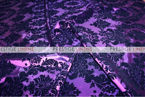 Flocking Damask Taffeta Chair Caps & Sleeves - Purple/Black