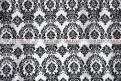Flocking Damask Taffeta Chair Caps & Sleeves - White/Black