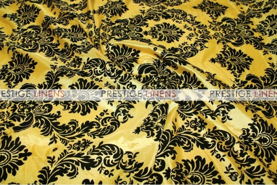 Flocking Damask Taffeta Chair Caps & Sleeves - Yellow/Black