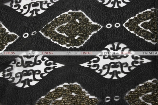 Imperial Damask Chair Caps & Sleeves - Black