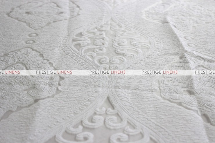 Imperial Damask Chair Caps & Sleeves - White