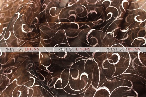 Organza Swirl Chair Caps & Sleeves - Brown/Pink