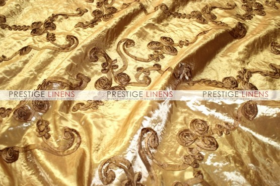 Ribbon Taffeta Chair Caps & Sleeves - Gold