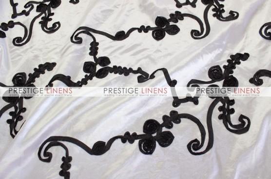 Ribbon Taffeta Chair Caps & Sleeves - White/Black