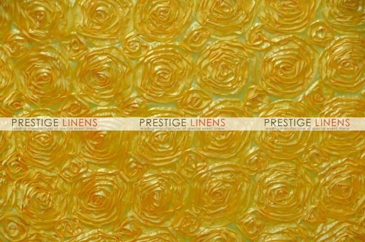 Rosette Satin Chair Caps & Sleeves - Yellow