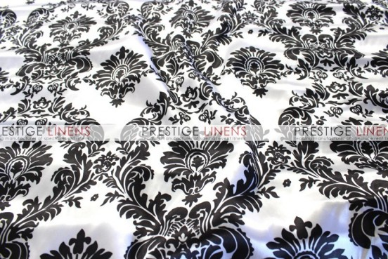 Damask Print Charmeuse Sash-White/Black