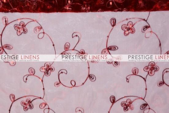 Floral Sequins Organza Sash-Burgundy