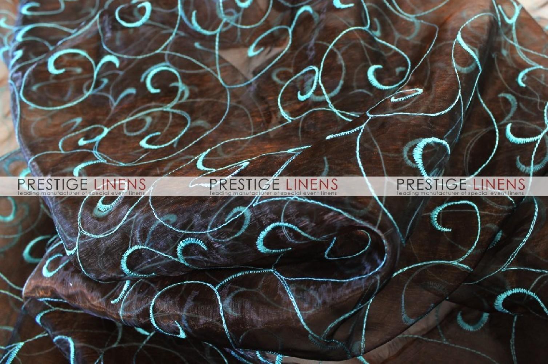 Organza swirl sash brown aqua prestige linens - Salon prestige organza ...