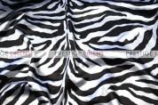 Zebra Print Charmeuse Sash-White
