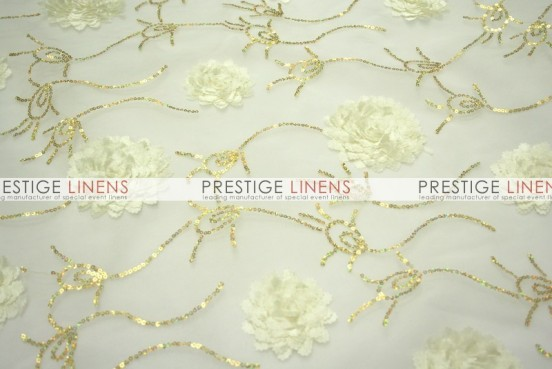 Bridely Sheer Table Linen - Ivory/Gold