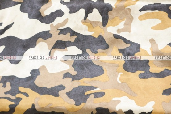 Camo Print Charmeuse Table Linen - Brown