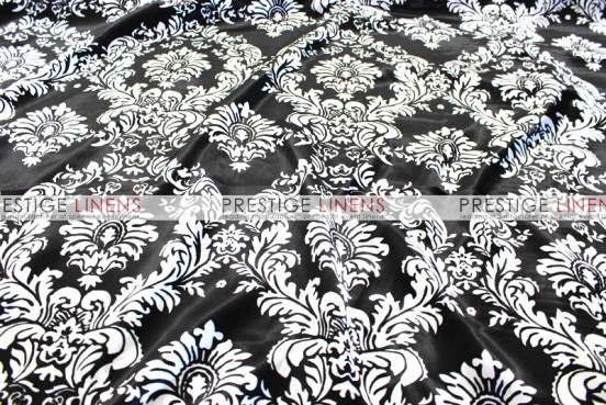 Damask Print Charmeuse Table Linen - Black/White