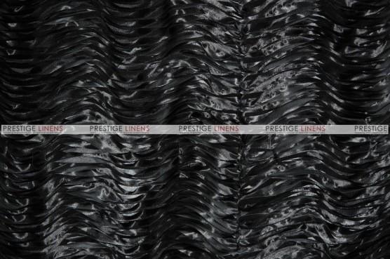 Austrian Wave Satin Table Linen - Black