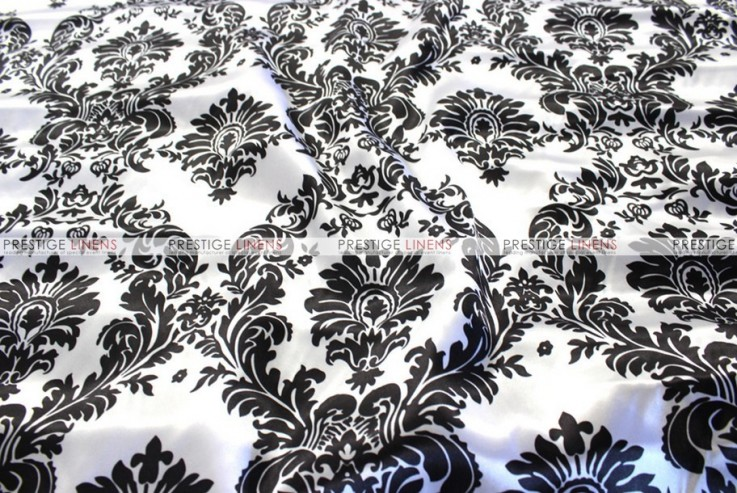 Damask Print Charmeuse Chair Cover - White/Black
