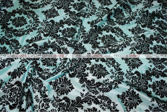 Flocking Damask Taffeta Chair Cover - Aqua/Black