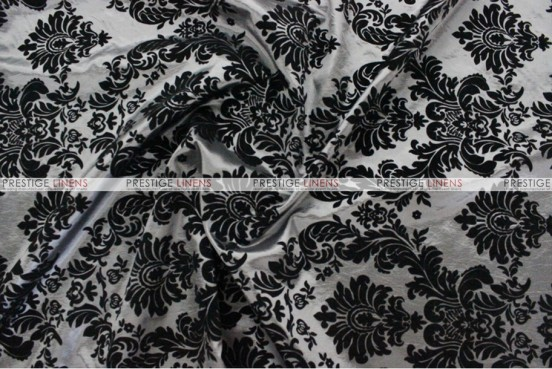Flocking Damask Taffeta Chair Cover - Charcoal/Black