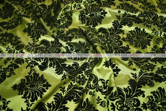 Flocking Damask Taffeta Chair Cover - Dk Lime/Black