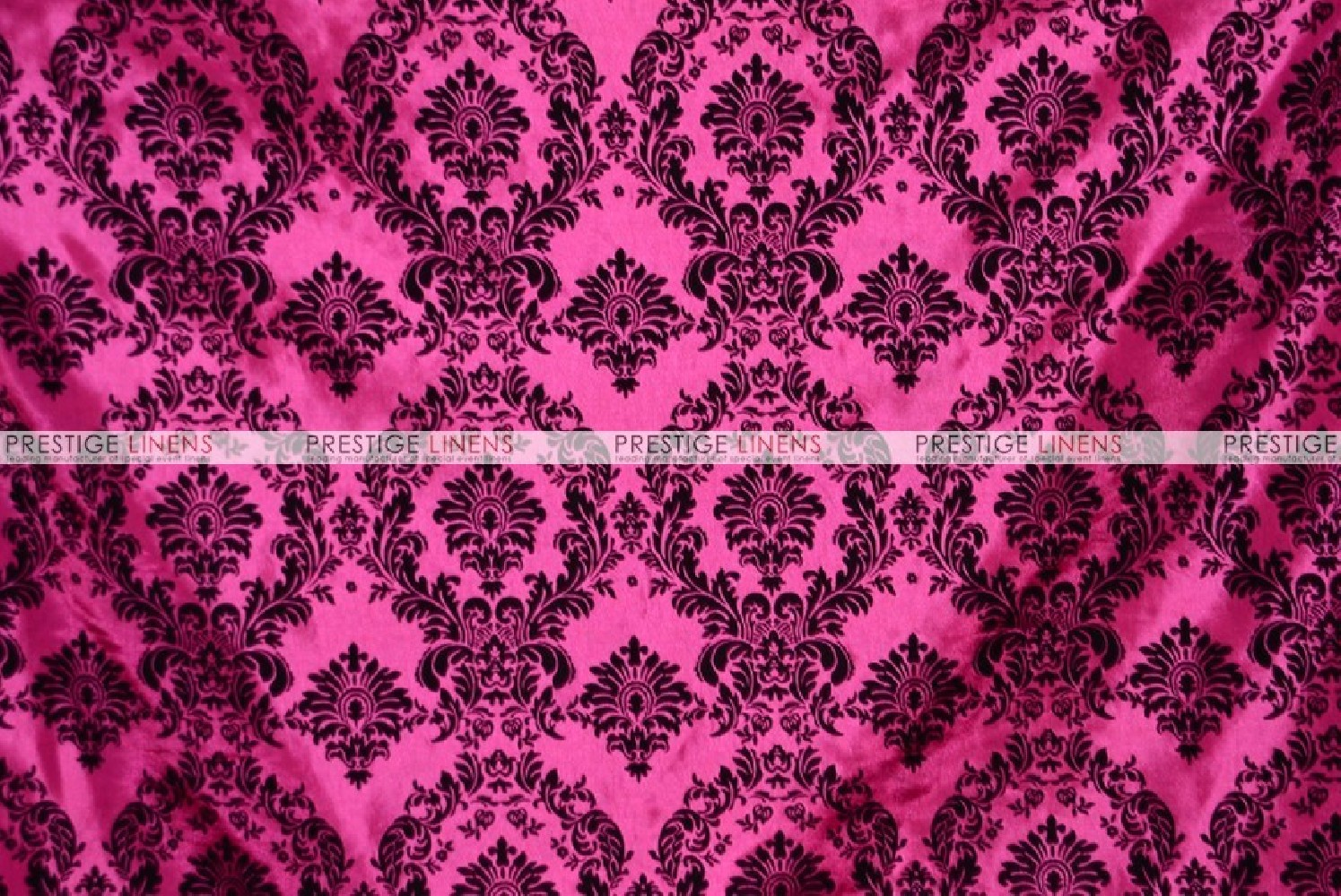 Flocking Damask Taffeta Chair Cover Hot Pink Black
