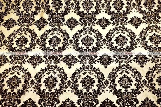 Flocking Damask Taffeta Chair Cover - Ivory/Black