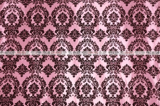 Flocking Damask Taffeta Chair Cover - Pink/Black