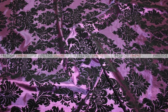 Flocking Damask Taffeta Chair Cover - Plum/Black