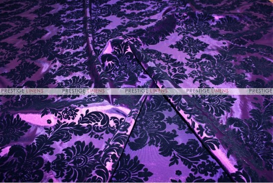 Flocking Damask Taffeta Chair Cover - Purple/Black