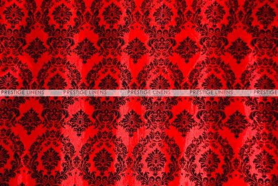 Flocking Damask Taffeta Chair Cover - Red/Black