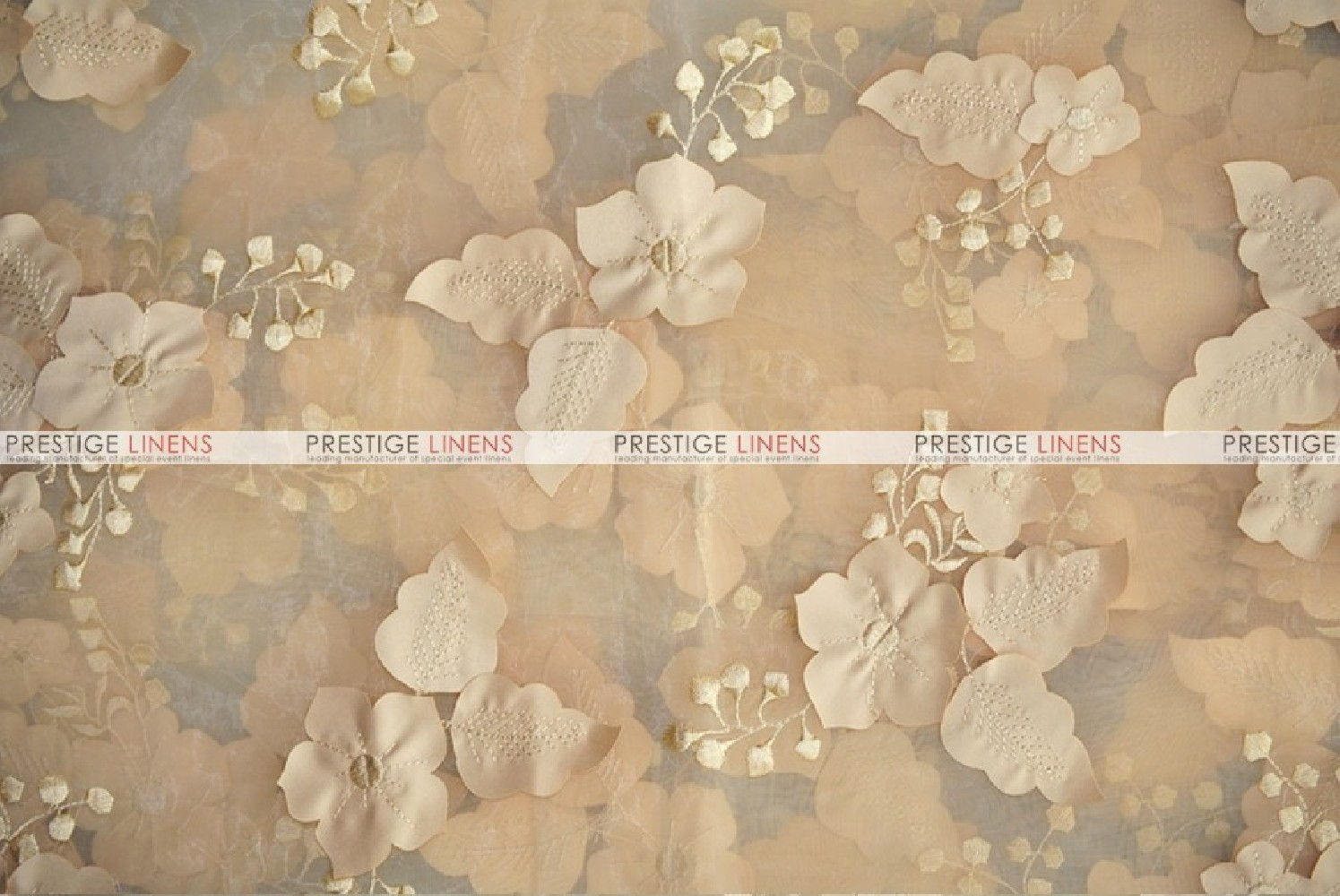 Applique Organza Fabric By The Yard Champagne