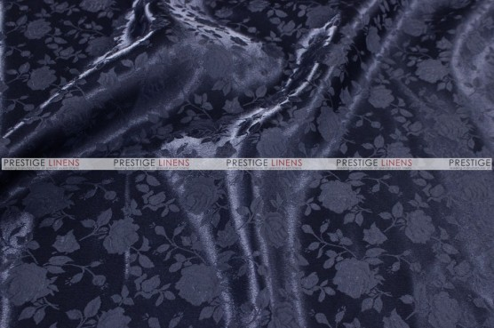 Brocade Satin - Fabric by the yard - Navy
