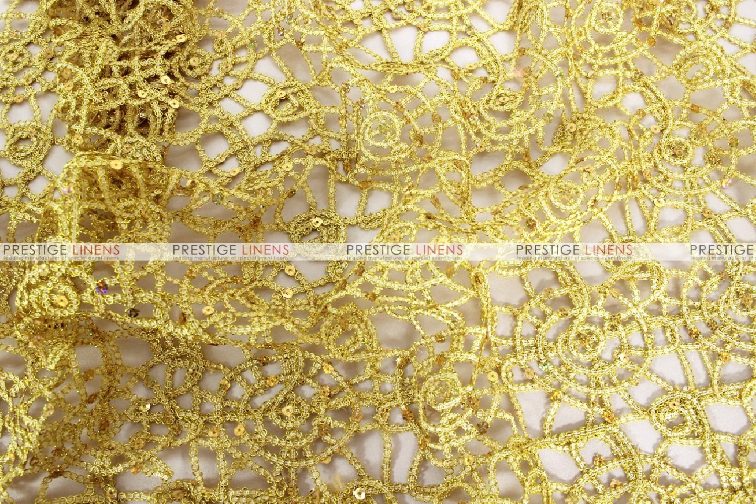 Chemical lace fabric by the yard gold prestige linens for Cheap fabric by the yard