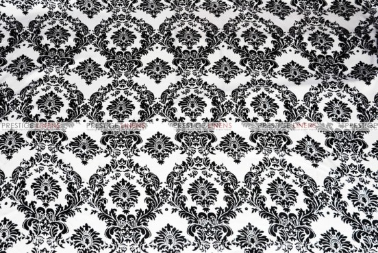 Damask Print Lamour - Fabric by the yard - White/Black
