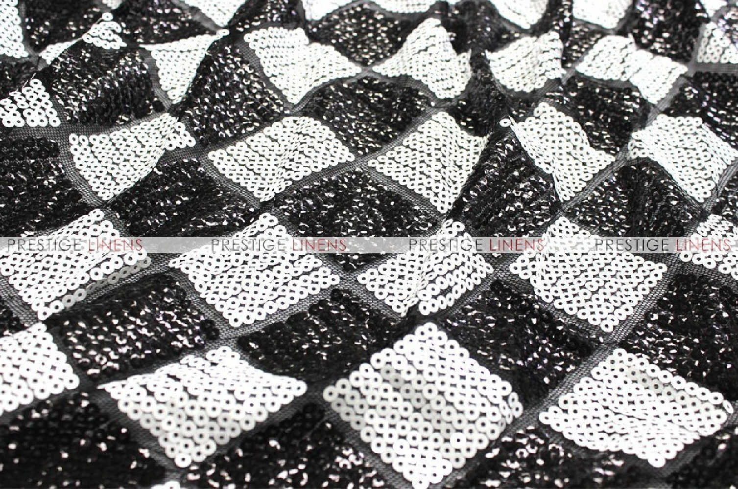 Diamond Sequins Fabric By The Yard Black White