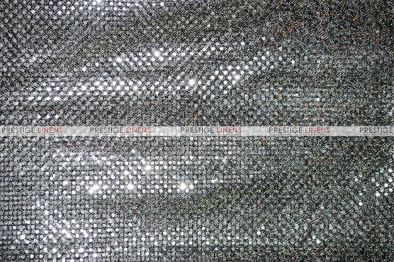 Dot Sequins 3mm - Fabric by the yard - Silver/Black