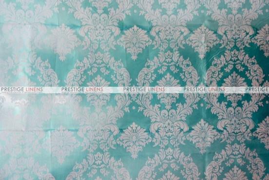 Flocking Damask Taffeta - Fabric by the yard - Aqua/White